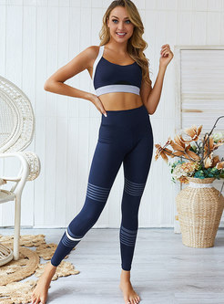 Color-blocked Tight Cross Back Yoga Tracksuit