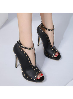 Black Pointed Toe Rivet High Heel Shoes
