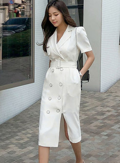 Work Notched Collar Double-breasted Dress