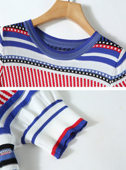 Crew Neck Striped Slim T-shirt & High Waisted Tapered Pants