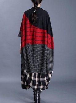 Plus Size V-neck Plaid Patchwork Long Trench Coat