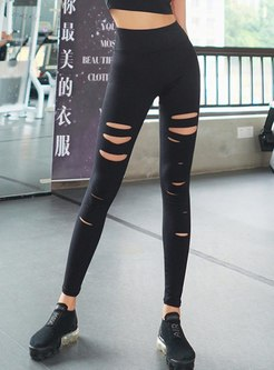 Fitness High Waisted Tight Ripped Yoga Pants