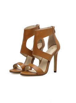 Pointed Toe High Heel Openwork Sandals