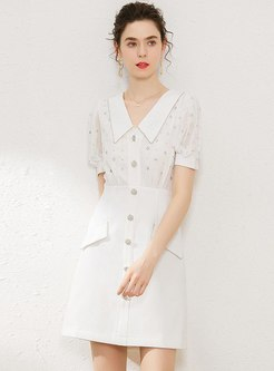 V-neck Puff Sleeve Hot Drilled Sheath Dress