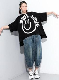 Plus Size Pullover Letter Print T-shirt