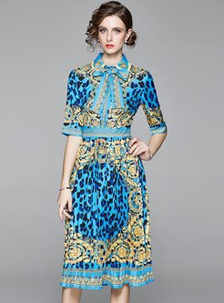 Retro Lapel Bowknot Leopard Pleated Midi Dress