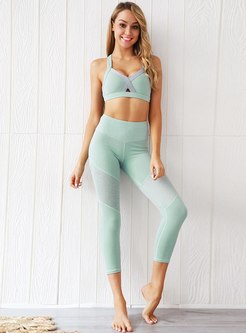Backless Breathable Openwork Sports Yoga Tracksuit