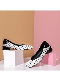 Square Toe Polka Dot Patchwork Chunky Heel Shoes