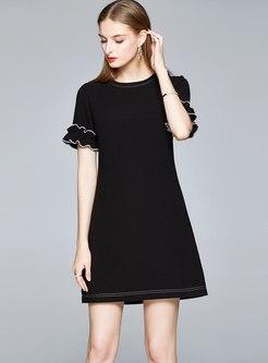 Black Crew Neck Short Sleeve Mini T-shirt Dress