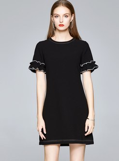 Black Crew Neck Short Sleeve Mini T-shirt Dress