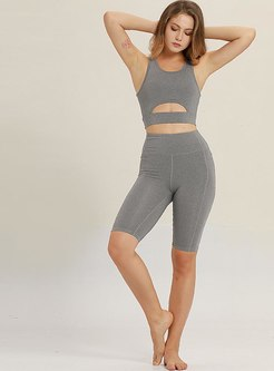 Scoop Neck Openwork Tight Workout Yoga Tracksuit