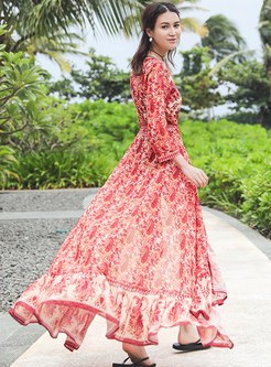 V-neck Long Sleeve Floral Beach Maxi Dress