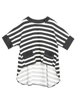 Plus Size Striped Pullover Asymmetric T-shirt