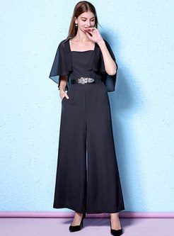 Black Square Neck Shawl Sleeve Wide Leg Jumpsuits
