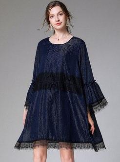 Plus Size Long Sleeve Shift Mini Dress