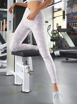Brief High Waisted Print Sports Yoga Pants
