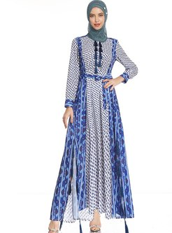 Long Sleeve Floral Fringed Big Hem Maxi Dress