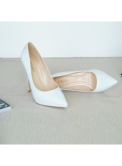 Pointed Toe Thin Heel Patent Leather Pumps
