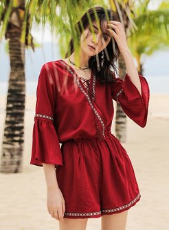 V-neck Flared Sleeve Wide Leg Rompers