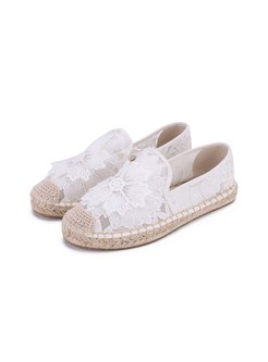 Rounded Toe Lace Straw Flat Espadrilles