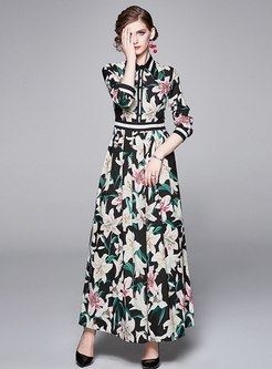 Lapel Long Sleeve Print Big Hem Maxi Dress