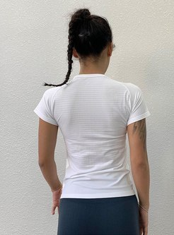 Short Sleeve Pullover Tight Striped Yoga T-shirt