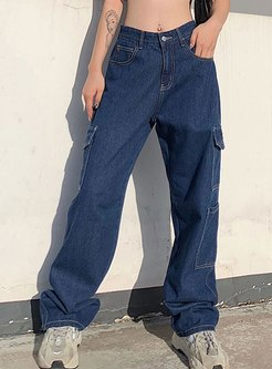 Casual Loose Straight Jeans With Pockets