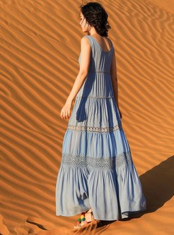 V-neck Sleeveless Openwork Beach Maxi Dress