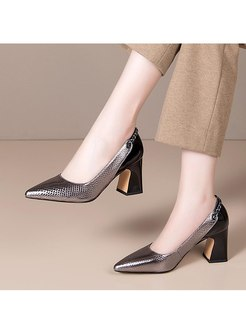 Color Block Pointed Toe Chunky Heel Shoes
