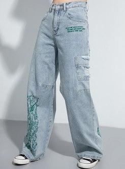 Letter Embroidered Denim Wide Leg Pants