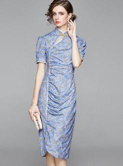 Mandarin Collar Floral Improved Cheongsam Dress