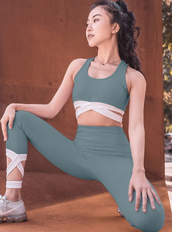 Scoop Neck Color Block Tight Sports Yoga Tracksuit