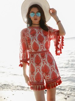 Mock Neck Fringed Embroidered Rompers