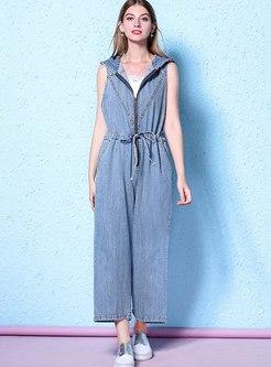 Hooded Denim Drawstring Wide Leg Jumpsuits