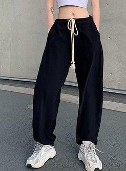 Elastic Waist Drawstring Casual Jogger Pants