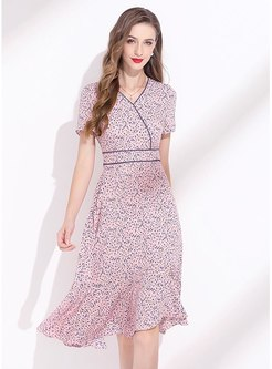 Short Sleeve Floral Chiffon Skater Dress