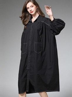 Solid Color Long Sleeve Plus Size Shift Dress