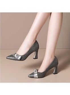 Diamond Plaid Slow-cut Chunky Heel Pumps