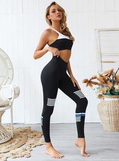 Color Block Scoop Neck Tight Yoga Fitness Tracksuit
