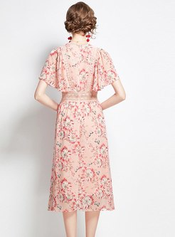 Lace Patchwork Floral Midi Chiffon Dress