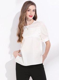 White Pullover Chiffon Slit Brief T-shirt