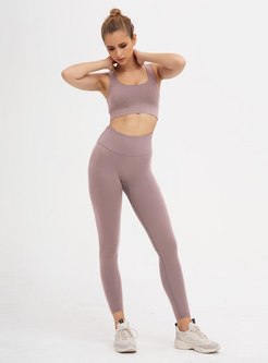 Scoop Neck Yoga Fitness Seamless Tight Tracksuit