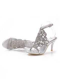 Rhinestone Openwork High Heel Sandals