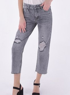 Grey Denim Straight Ripped Pants
