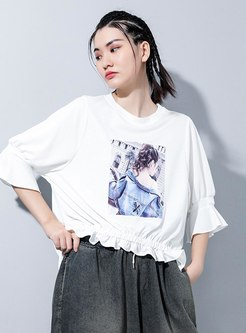 Plus Size Pullover Loose Print T-shirt