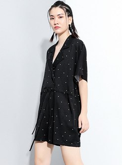 Black Plus Size Polka Dot Wide Leg Rompers