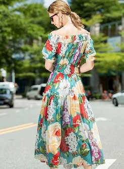 Off Shoulder Print Big Hem Beach Maxi Dress