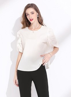 White Pullover Ruched Short Sleeve T-shirt