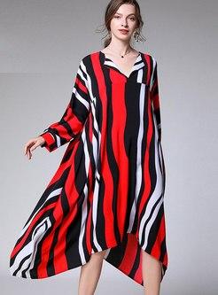 Plus Size V-neck Striped Shift Dress