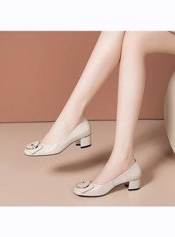 Square Toe Slow-cut Chunky Heel Shoes